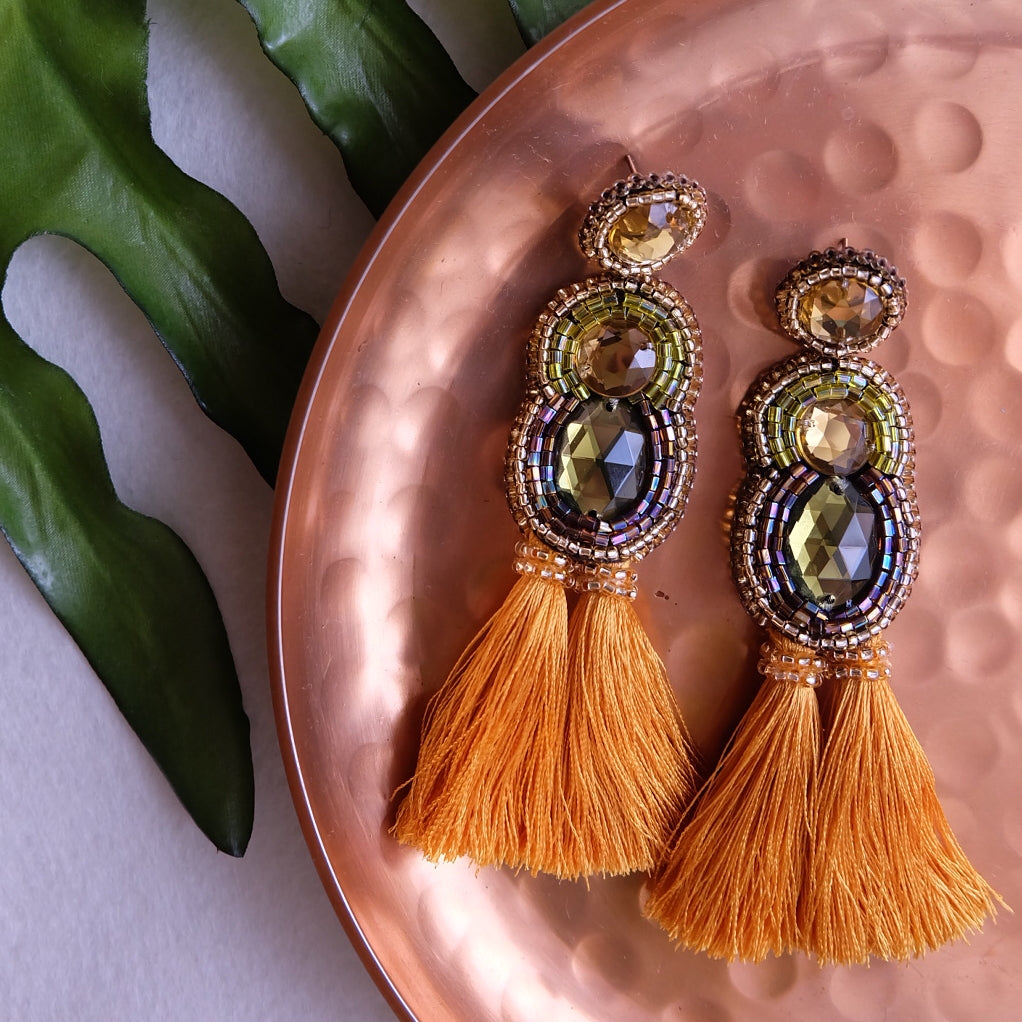 """Lulu"" Olive and Gold Tassel Earrings"