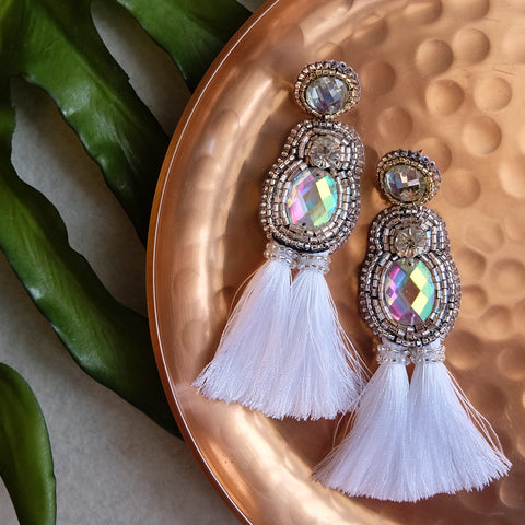 """Blanca"" White Tassel Earrings"