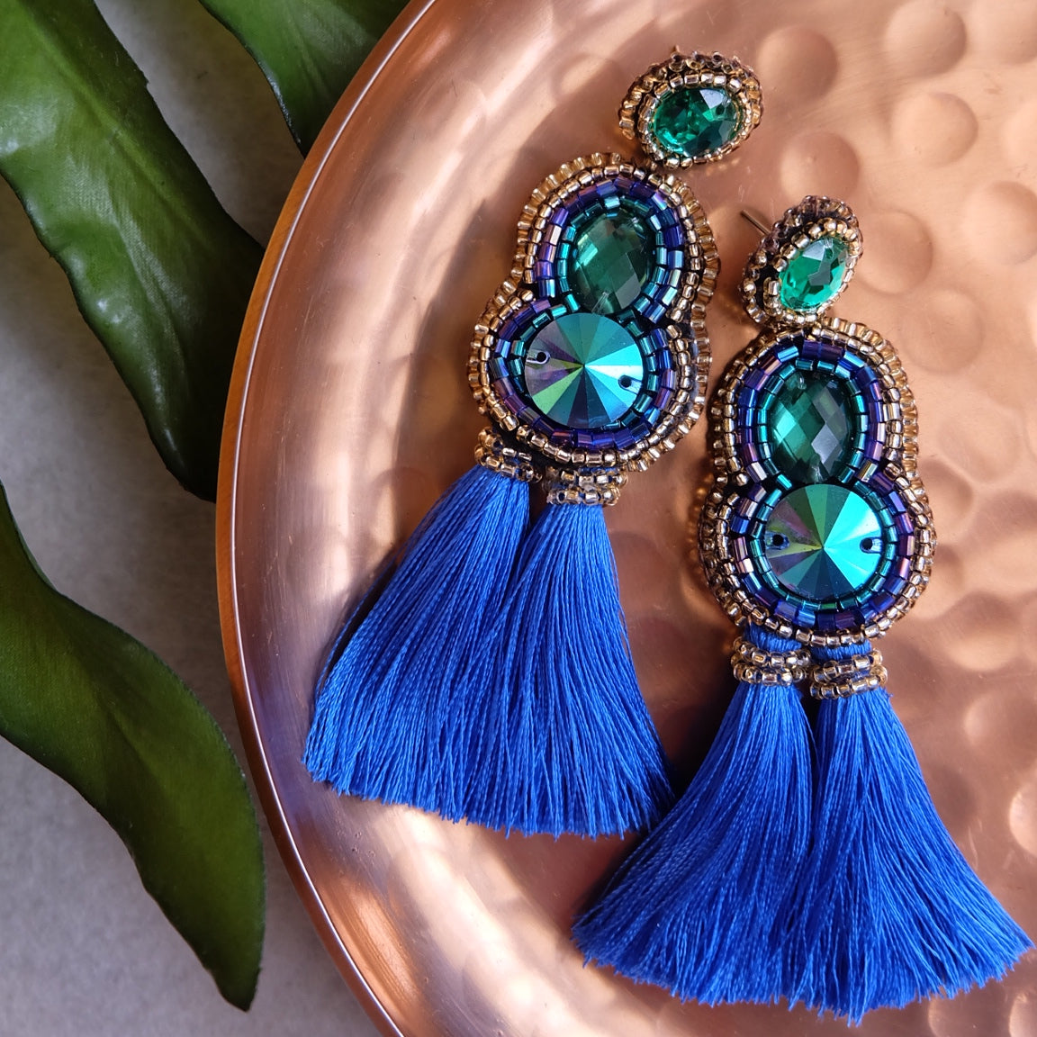 """Cameron"" Cobalt Blue Tassel Earrings"