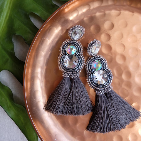 """Chiara"" Grey Tassel Earrings"