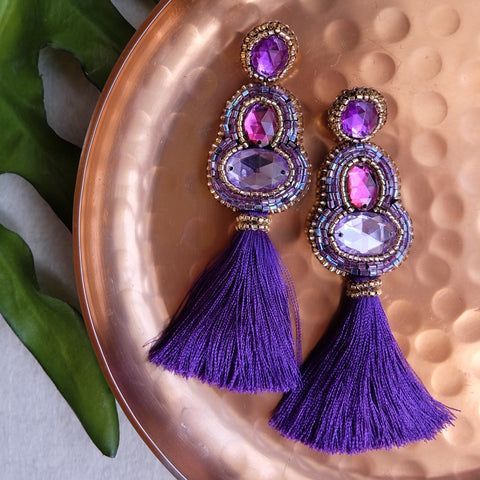 """Adrienne"" Purple Tassel Earrings"