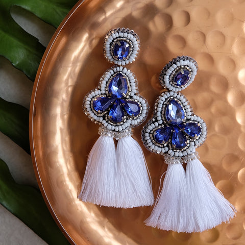 """Madison"" White Tassel Earrings"