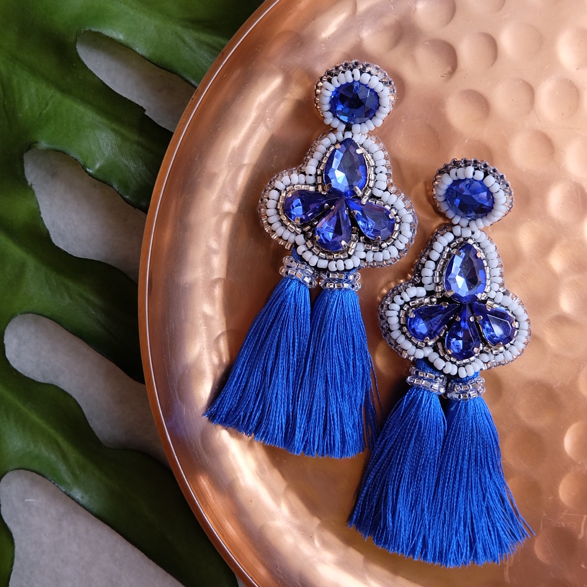 """Madison"" White and Blue Tassel Earrings"