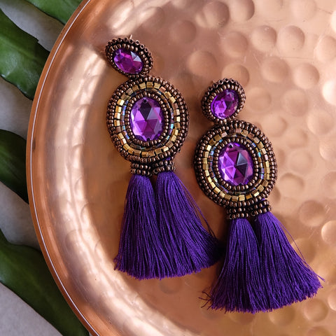 """Anabelle"" Purple Tassel Earrings"