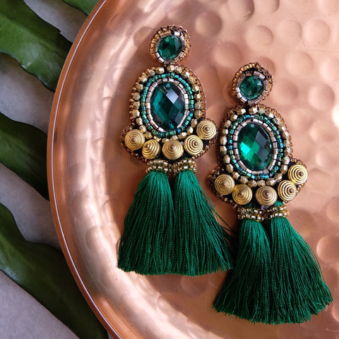 """Babette"" Emerald Green Tassel Earrings"