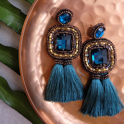 """Ella"" Teal Tassel Earrings"