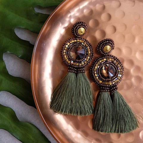 """Chia"" Smoke and Olive Green Tassel Earrings"