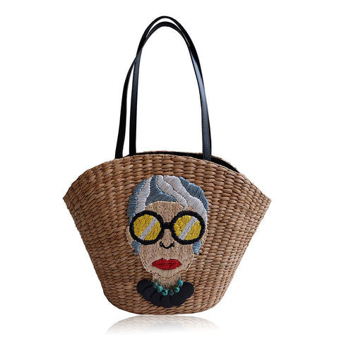 """Abuelita"" Embroidered Seagrass Tote"