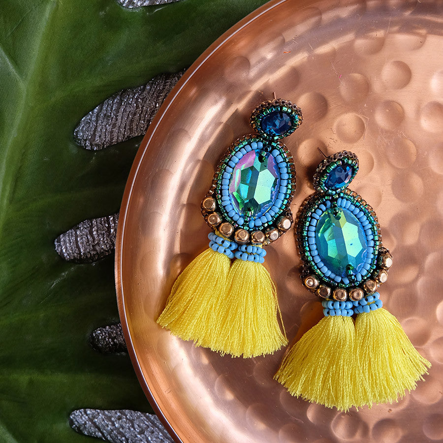 """Alba"" Aqua and Yellow Tassel Earrings"
