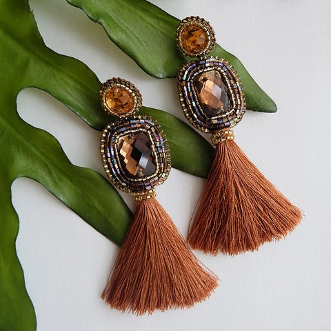 """Marion"" Brown Tassel Earrings"
