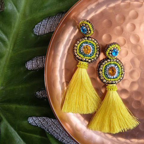 """Anja"" Yellow Tassel Earrings"