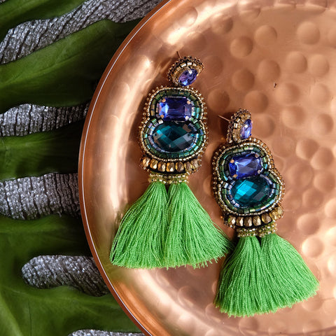 """Maxene"" Blue and Apple Green Tassel Earrings"