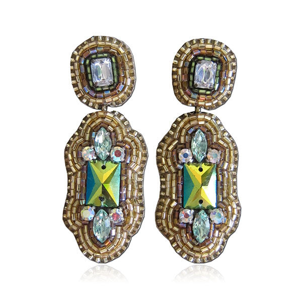 """Arianne"" Green and Gold Earrings"