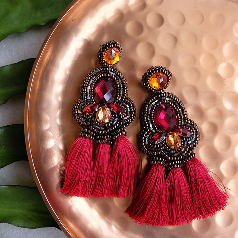 """Elise"" Bordeaux Red Triple Tassel Earrings"
