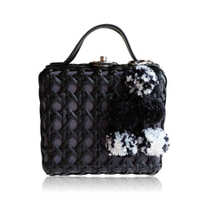 """Cate"" Black Box Rattan Convertible Tote"