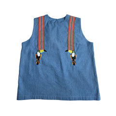 Chambray Toucan Sleeveless Top