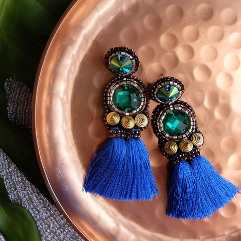 """Colette"" Green and Blue Short Tassel Earrings"