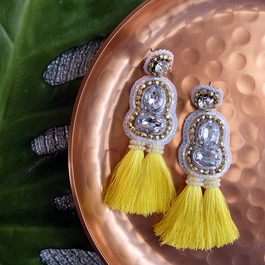 """Crystal"" White and Yellow Tassel Earrings"