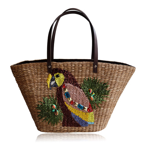 """Dani"" Large Embroidered Seagrass Tote"