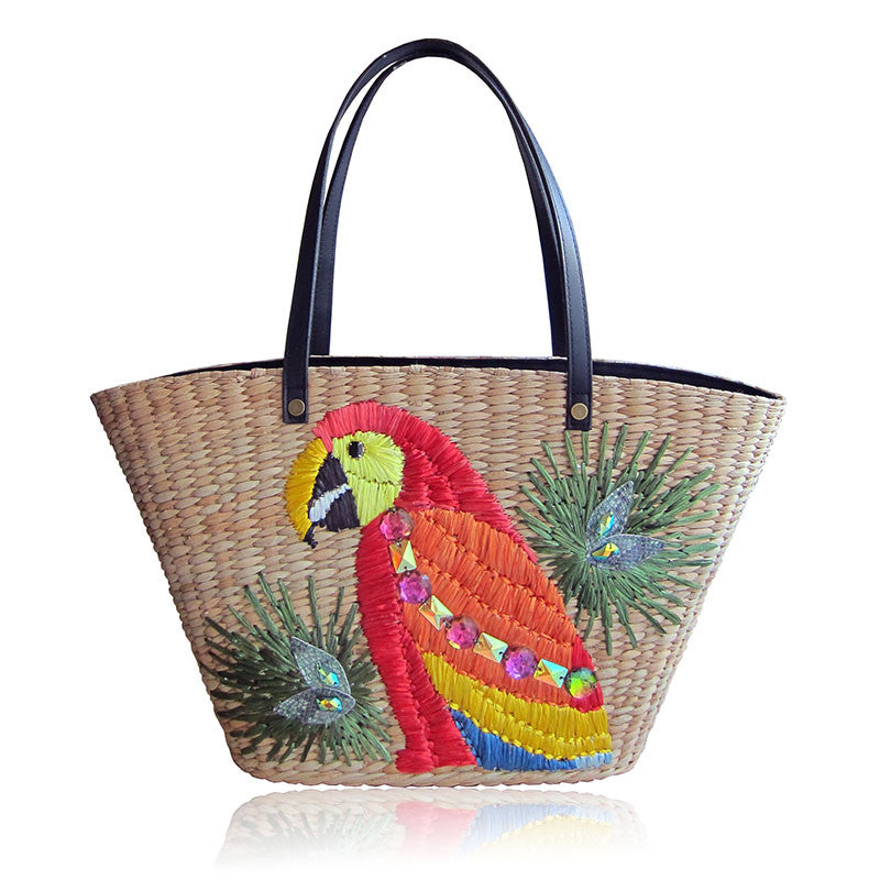 Dani Red Parrot Tote Front View