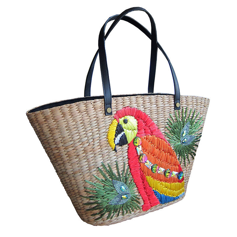 Dani Red Parrot Tote Side View