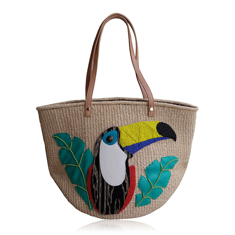 """Demi"" Embellished Toucan Abaca Tote"
