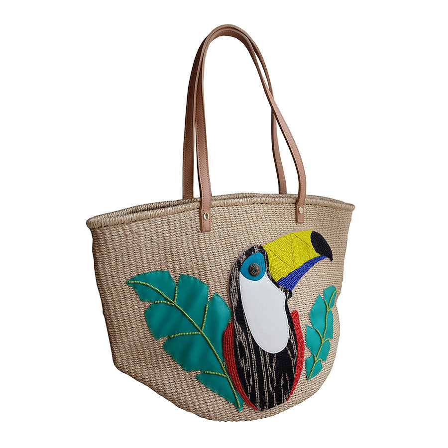 "Kultura Abaca Bag Design: ""Demi"" Embellished Toucan Abaca Tote"