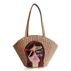 """Erin"" Embroidered Seagrass Tote"