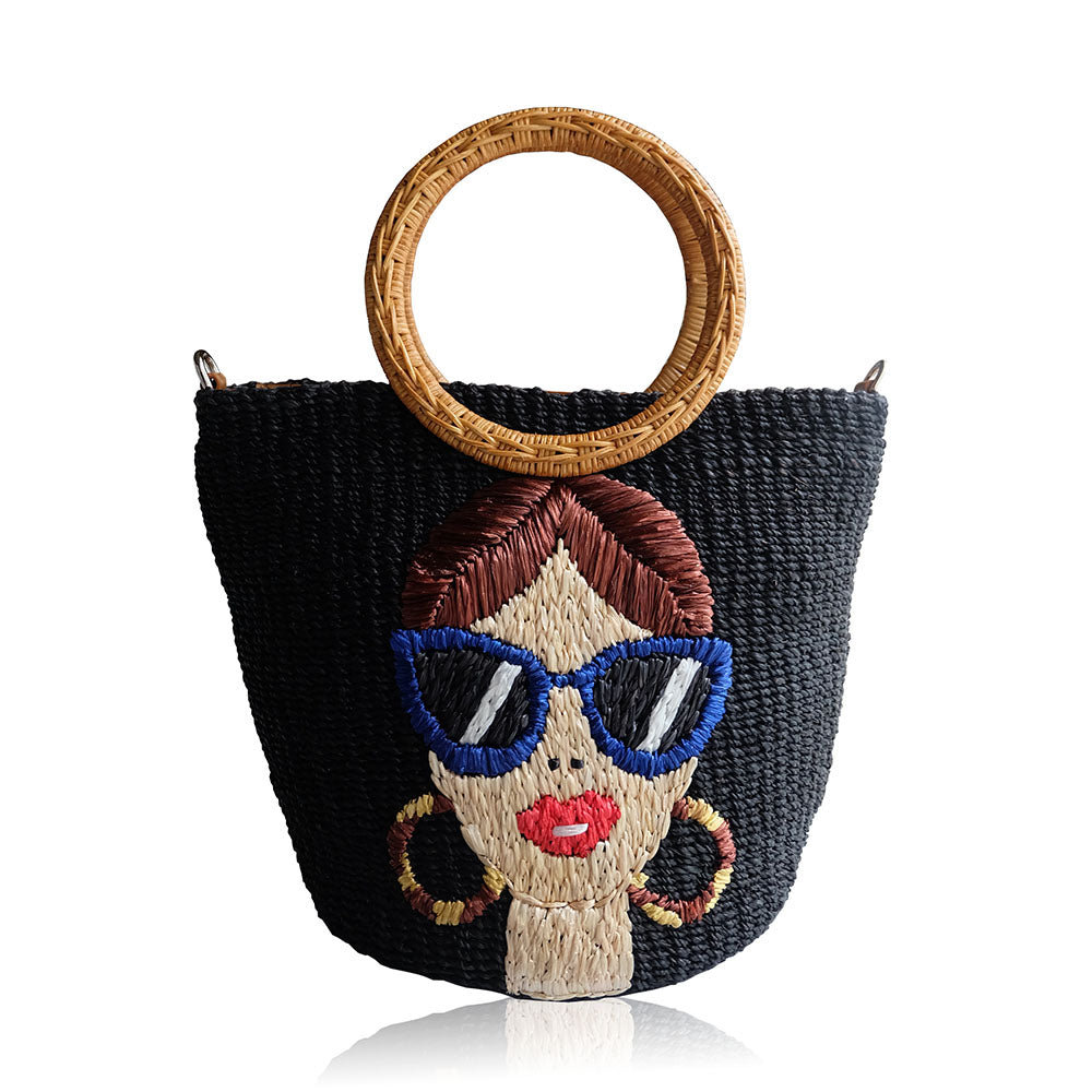 """Mia"" Embroidered Black Abaca Crossbody Bag"