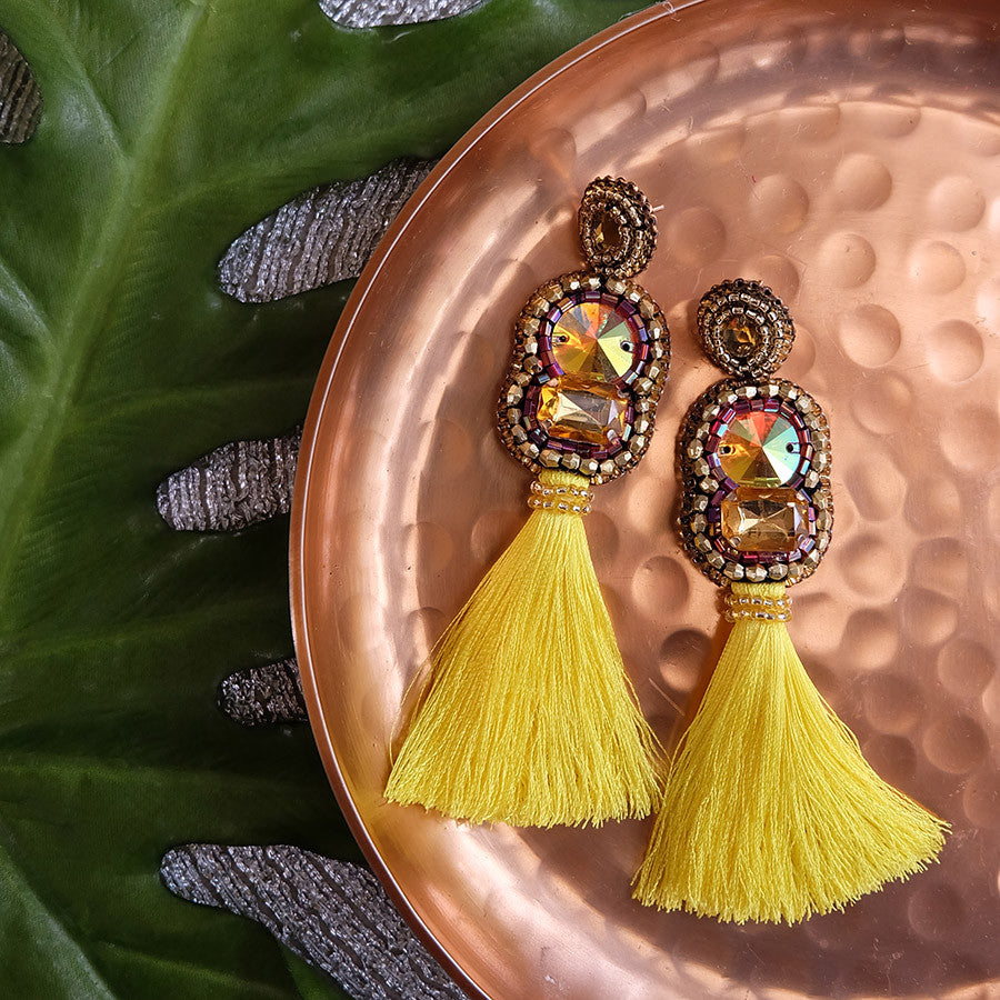 """Hailey"" Yellow Tassel Earrings"