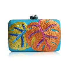 """Helene"" Embroidered Leaf Tinalak Clutch"