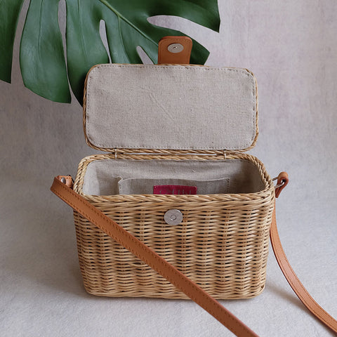 """Jill"" Natural Camera Wicker Bag"