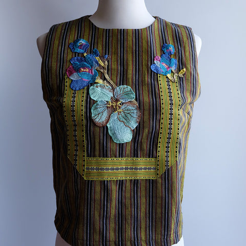 Embroidered Kantarines Sleeveless Top -Yellow Green Stripe