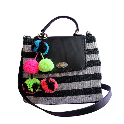 """Kelly"" Black Stripe Abaca Satchel"