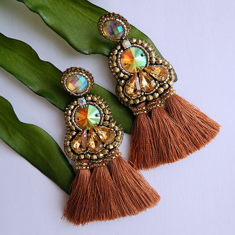 """Keri"" Brown Triple Tassel Earrings"