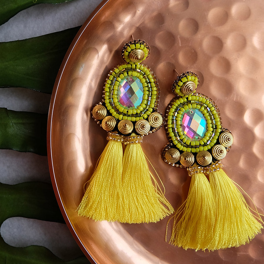 """Kylie"" Yellow Tassel Earrings"