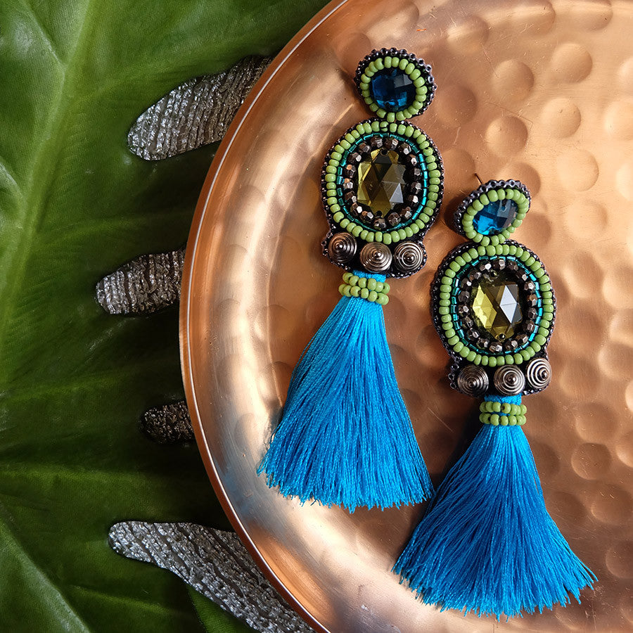 """Lily"" Blue Tassel Earrings"