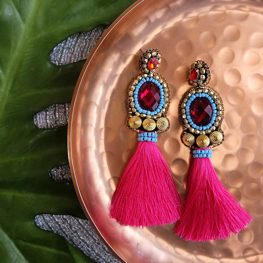 """Livy"" Fuchsia Tassel Earrings"