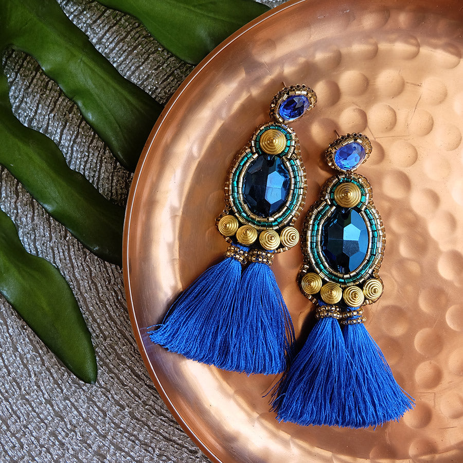 """Luna"" Cobalt Blue Tassel Earrings"