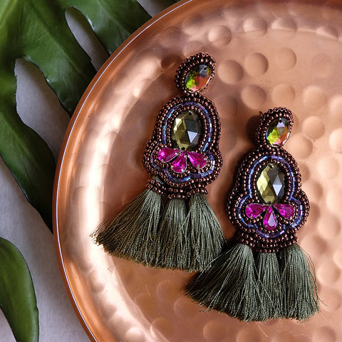 """Sandrine"" Magenta and Olive Tassel Earrings"