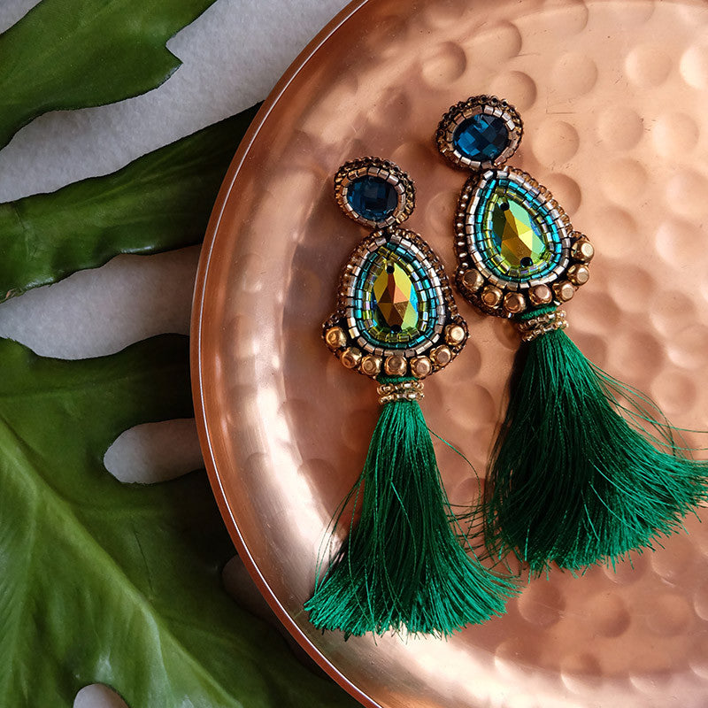 """Manuela"" Emerald Green Tassel Earrings"