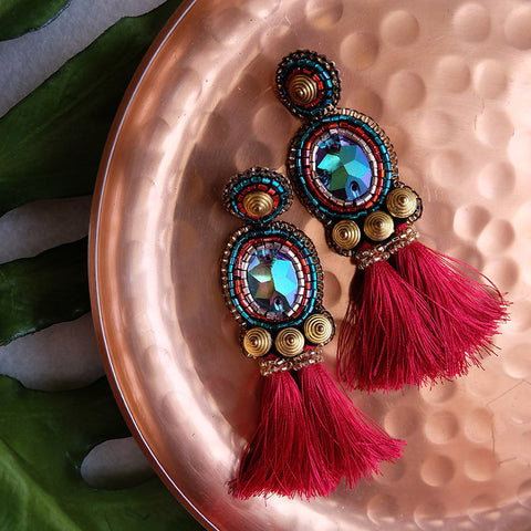 """Marga"" Red Short Tassel Earrings"