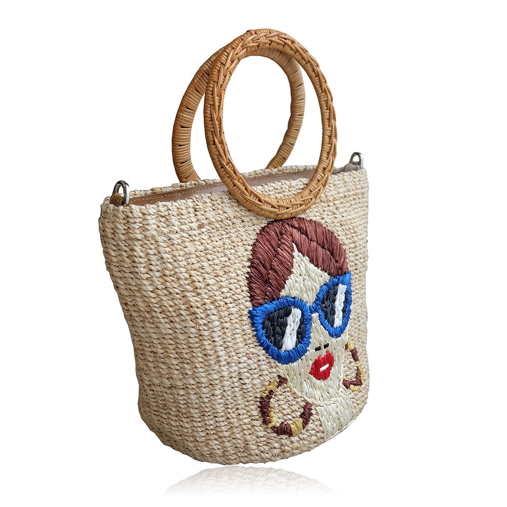 """Mia"" Embroidered Natural Abaca Crossbody Bag"