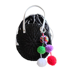 """Nancy"" Black Mini Round Abaca Crossbody"