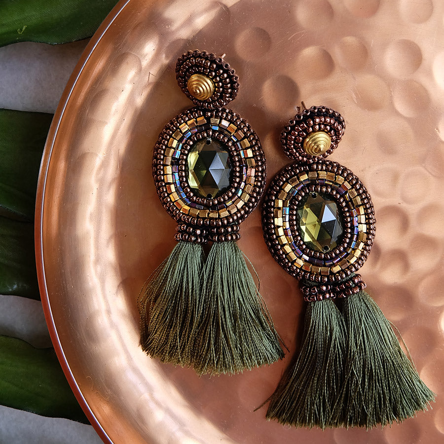 """Cinta"" Olive Green Tassel Earrings"