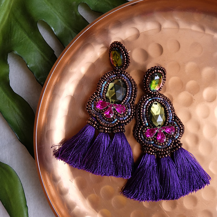 """Sandrine"" Magenta and Purple Tassel Earrings"
