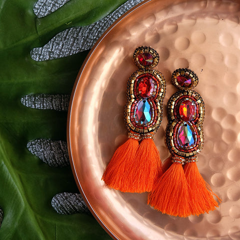 """Gwendolyn"" Orange Tassel Earrings"