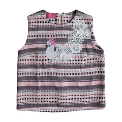 Pink Tweed Embroidered Sleeveless Top