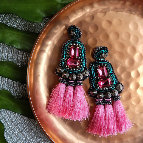 """Pauline"" Pink Triple Tassel Earrings"