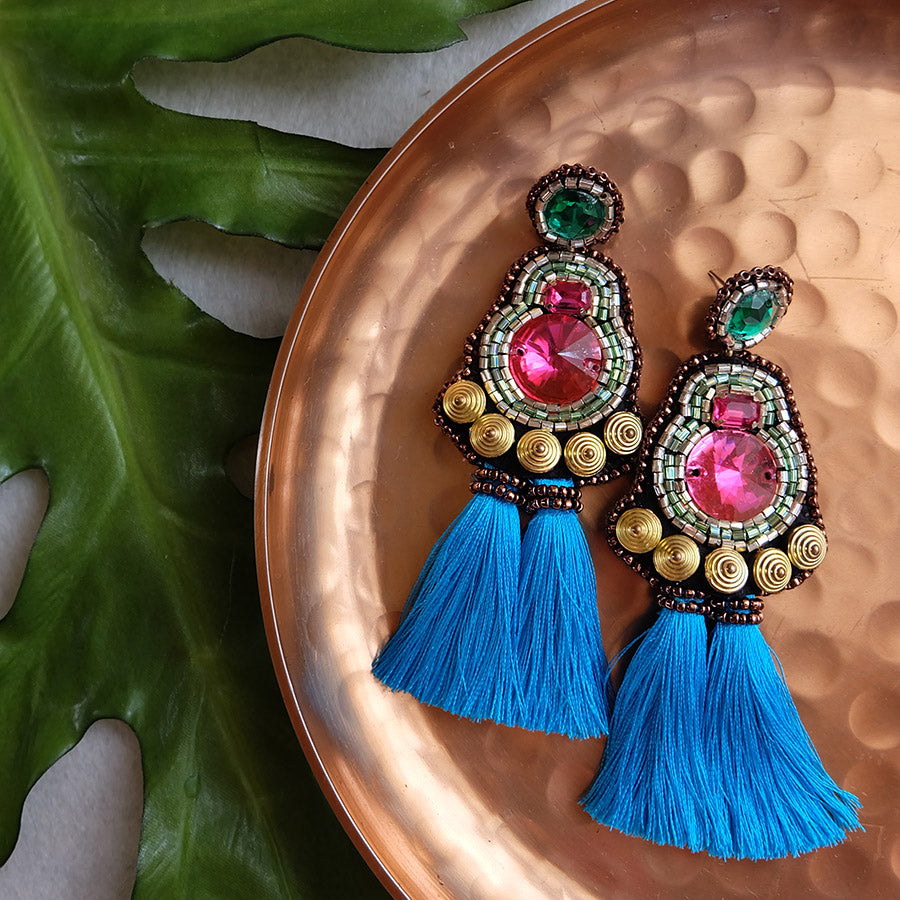 """Camryn"" Pink and Aqua Tassel Earrings"
